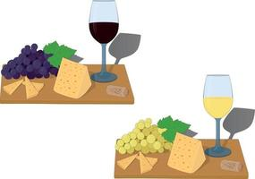 Serving board with glass of wine, grapes and cheese slices vector