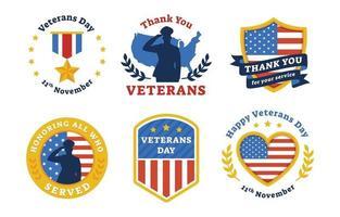 Veterans Day Sticker Set vector