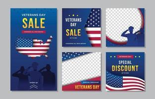 Veterans Day Sale Social Media Template vector