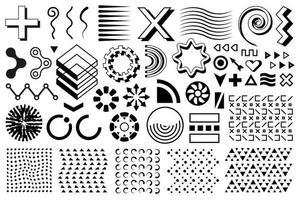 Vector memphis set, group of modern geometric shapes.