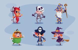 paquete de personajes de fiesta de disfraces de halloween vector