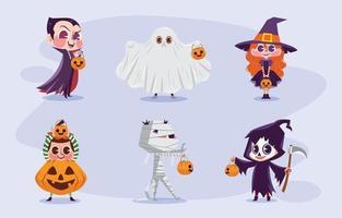 truco o trato de halloween con disfraces de personajes de dibujos animados vector
