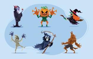 paquete de personajes de monstruos de halloween vector