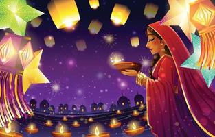 Diwali Festival of Lights Background Concept vector