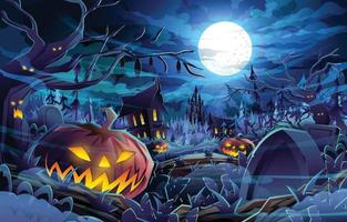Halloween Dark Night Scenery Background Concept vector