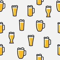 Beer glass icon seamless background pattern, vector illustration