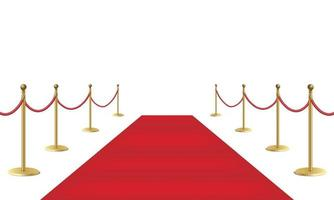 Red event carpet and golden barriers isolated on white background vector