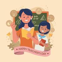 feliz dia del maestro con el maestro y el alumno vector