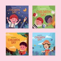 Set of Children Day for Social Media Post vector