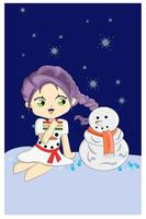 niña y muñeco de nieve vector