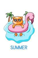 Cute and cool cat swimming in the summer cartoon illustration vector