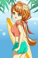 Beautiful girl with surfing board in the summer character cartoon vector