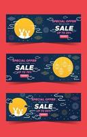 Set of Mid Autumn Banners vector