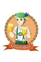 Boy with beer celebrating oktoberfest cartoon illustration vector