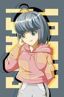 Cute and cool girl with jacket design character cartoon illustration vector