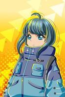 Beautiful and cute girl with big jacket character cartoon illustration vector