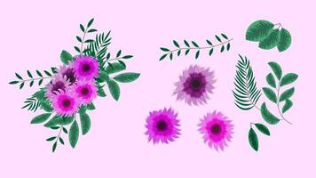 floral elements Collection spring flowers Detailed clip art elements vector