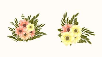 bouquet bunches of spring flowers collection pretty Detailed clip art vector