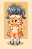 Cute girl with cat cartoon illustration vector
