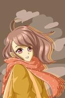 anime hermosa y linda chica vector