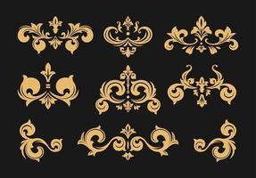 Vintage Baroque Victorian frame border set vector