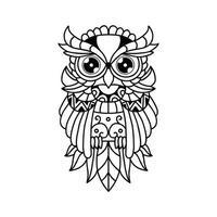 Black and white owl outline design vector