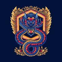 dragon vector illustration design with ornaments