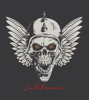 biker skull wings vector