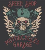 biker skull motorcycle vector