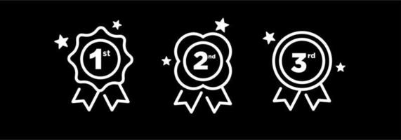 1st 2nd 3rd medal first place second third award winner badge guarantee winning prize ribbon symbol sign icon logo template Vector clip art illustration isolated on black background