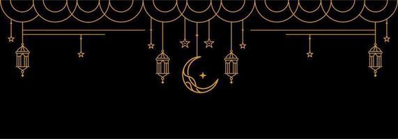 ramadan Kareem golden banner on black background, Eid Mubarak Greeting Line vector design with beautiful Glowing Lantern and elegant crescent moon star