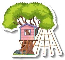 Isolated tree house with climbing nets vector