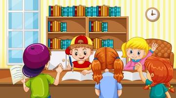 Scene with many kids doing homework at home vector