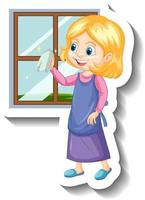 A housekeeper girl cleaning the window cartoon character sticker vector