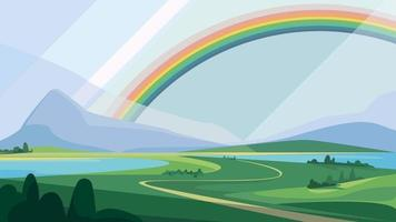 Landscape with mountains and rainbow. Beautiful natural scenery. vector