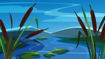 Landscape with reeds on background of mountains. vector