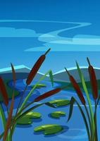 Vertical landscape with reeds on background of mountains. vector