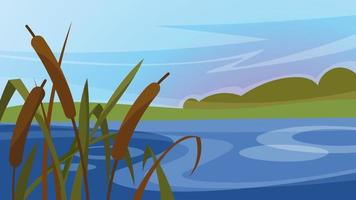 Landscape with reeds on the river. Beautiful natural scenery. vector