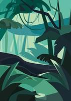 Dense tropical forest. Natural scenery in vertical orientation. vector