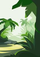 Tropical forest in daylight. Natural scenery in vertical orientation. vector