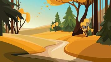 Road out of the forest. Beautiful autumn landscape. vector