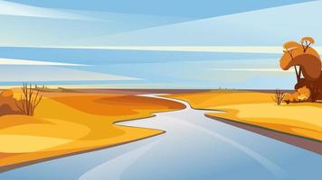 Autumn landscape with river at dawn. vector