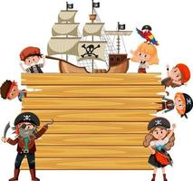 Empty wooden board with many pirate kids cartoon character vector