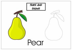 trace and colour pear for kid to learn tracing and colouring vector