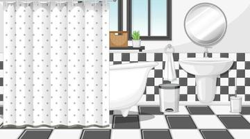 Bathroom interior with furniture in black and white theme vector