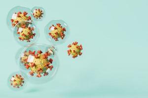 Coronavirus cells inside bubbles photo