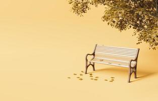 Minimalistic park bench under autumn tree with fallen leaves photo