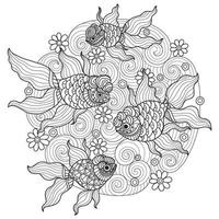 Goldfish hand drawn for adult coloring book vector