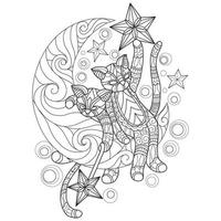 Cats and moon hand drawn for adult coloring book vector