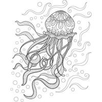 Jellyfish hand drawn for adult coloring book vector